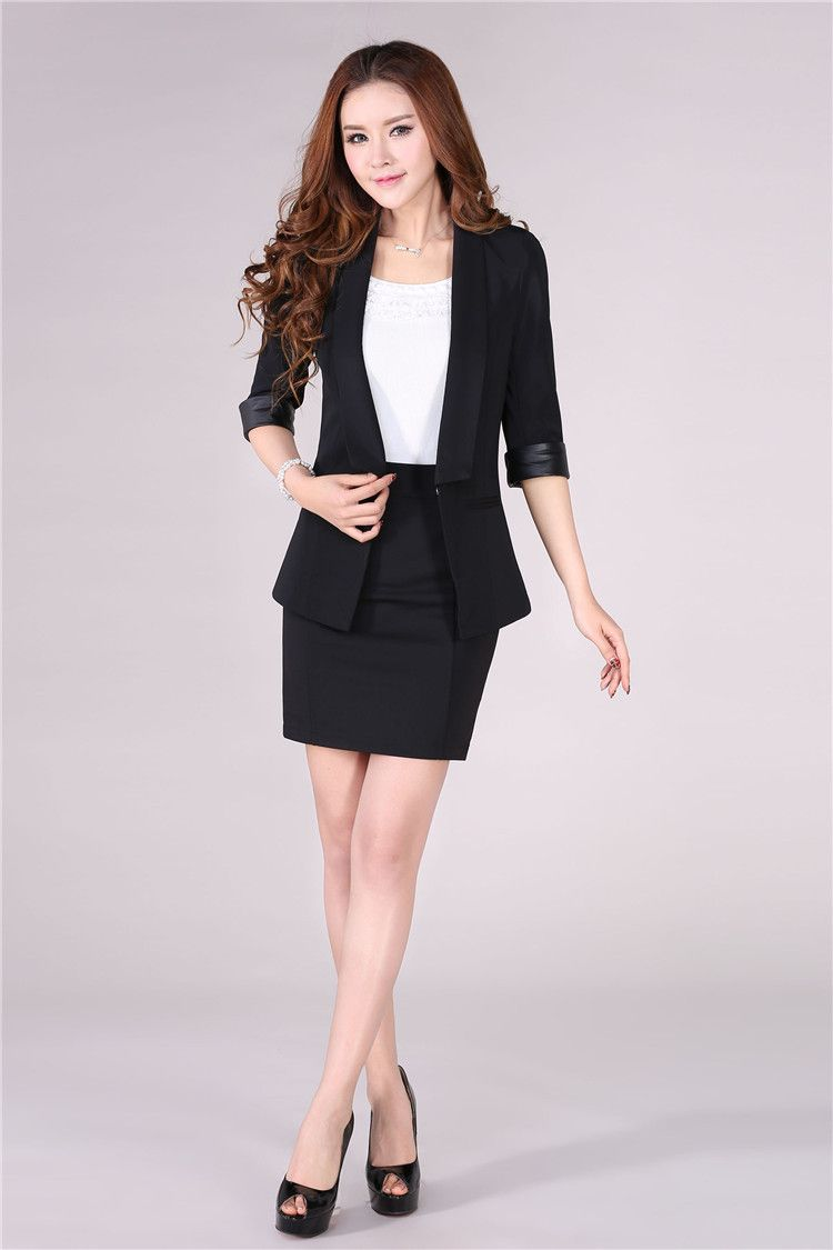 b18ec35d551 New 2016 Spring Summer Formal Blazer Women Skirt Suits Sets Elegant Fashion  Female Office Uniform Styles Ladies Work Suits Black