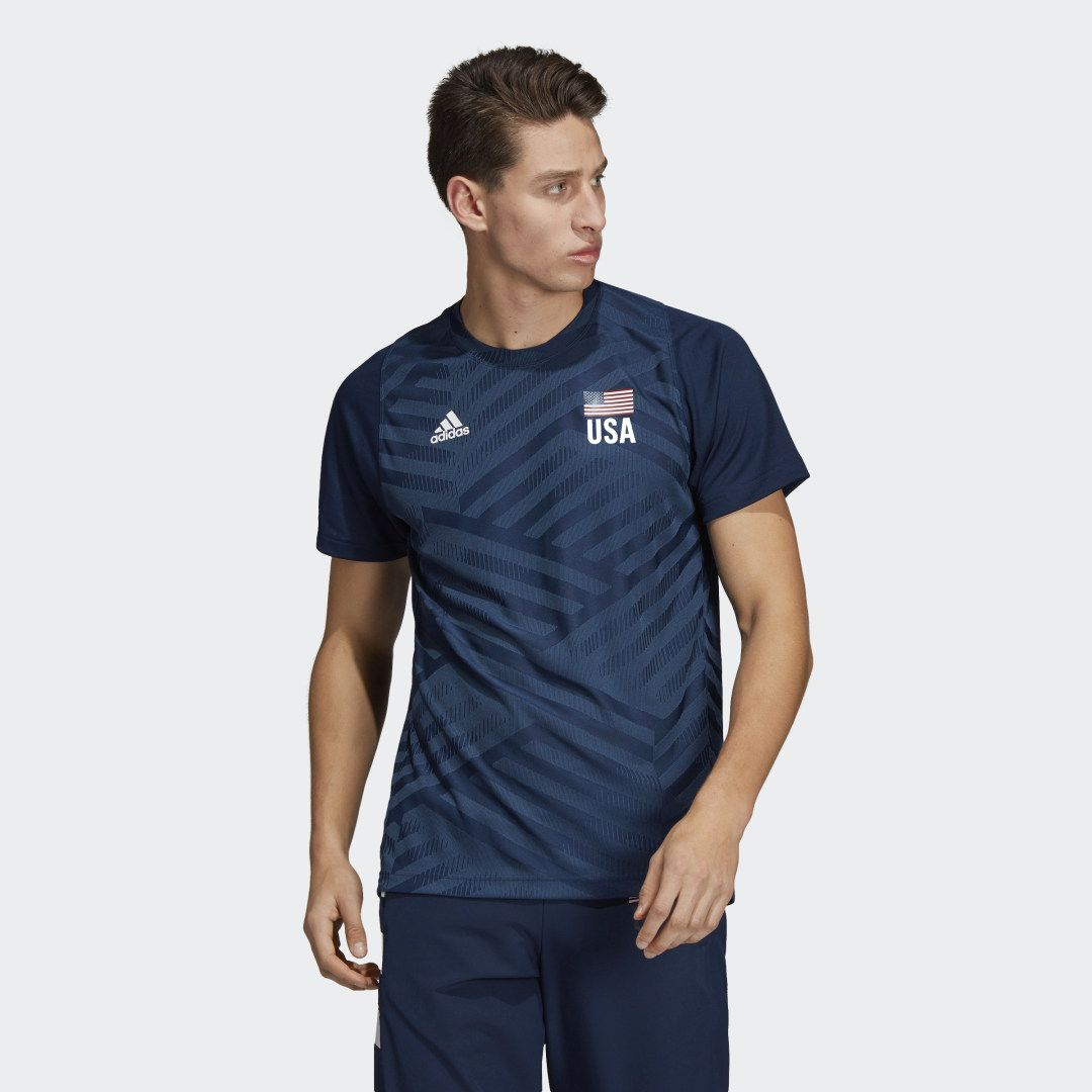 Usa Volleyball Replica Tee In 2020 Usa Volleyball Blue Adidas Mens Tees