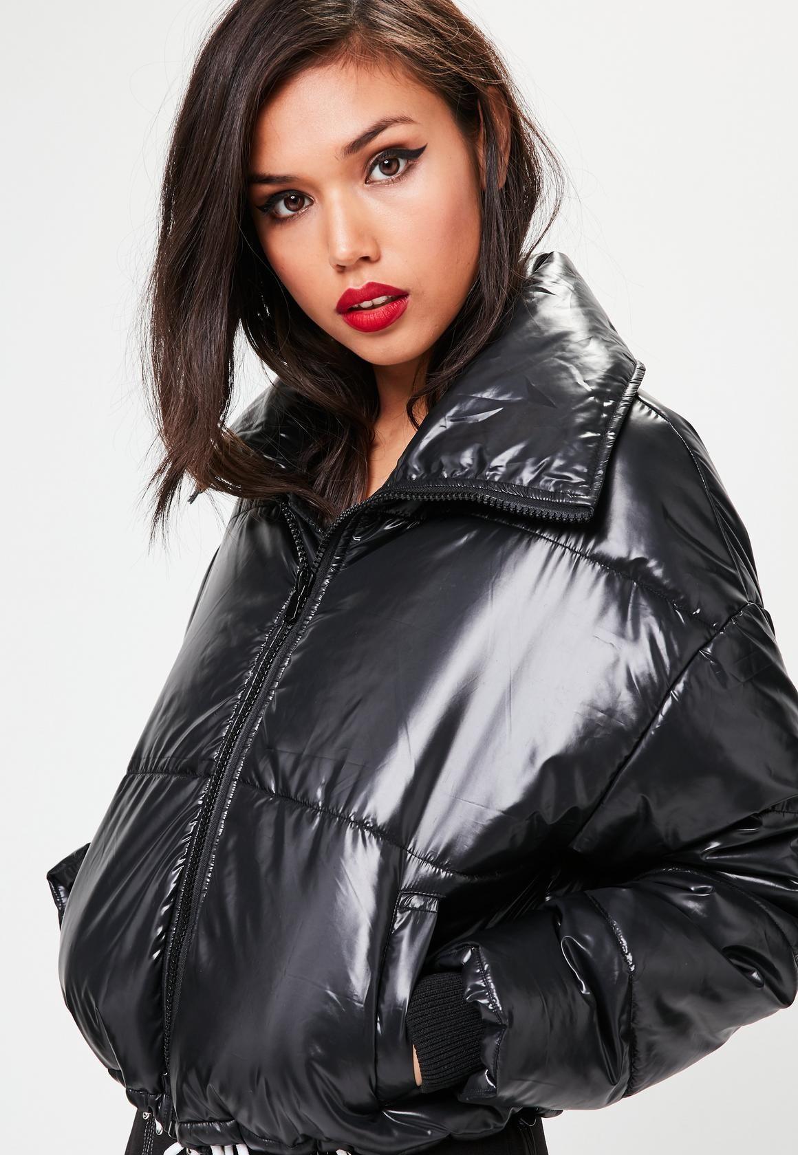 Missguided Black High Shine Padded Jacket Regen Outfit