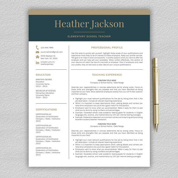 Resume Template / Teacher CV by ProGraphicDesign on