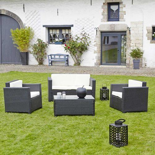 Garden and Co - Salon de jardin en résine tressée noir-Canapé + 2 ...