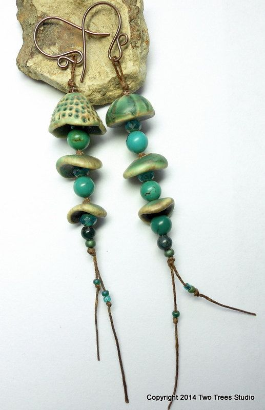 Whimsical, one-of-a-kind asymmetrical earrings with gemstones and artisan ceramic beads.  By Two Trees Studio.
