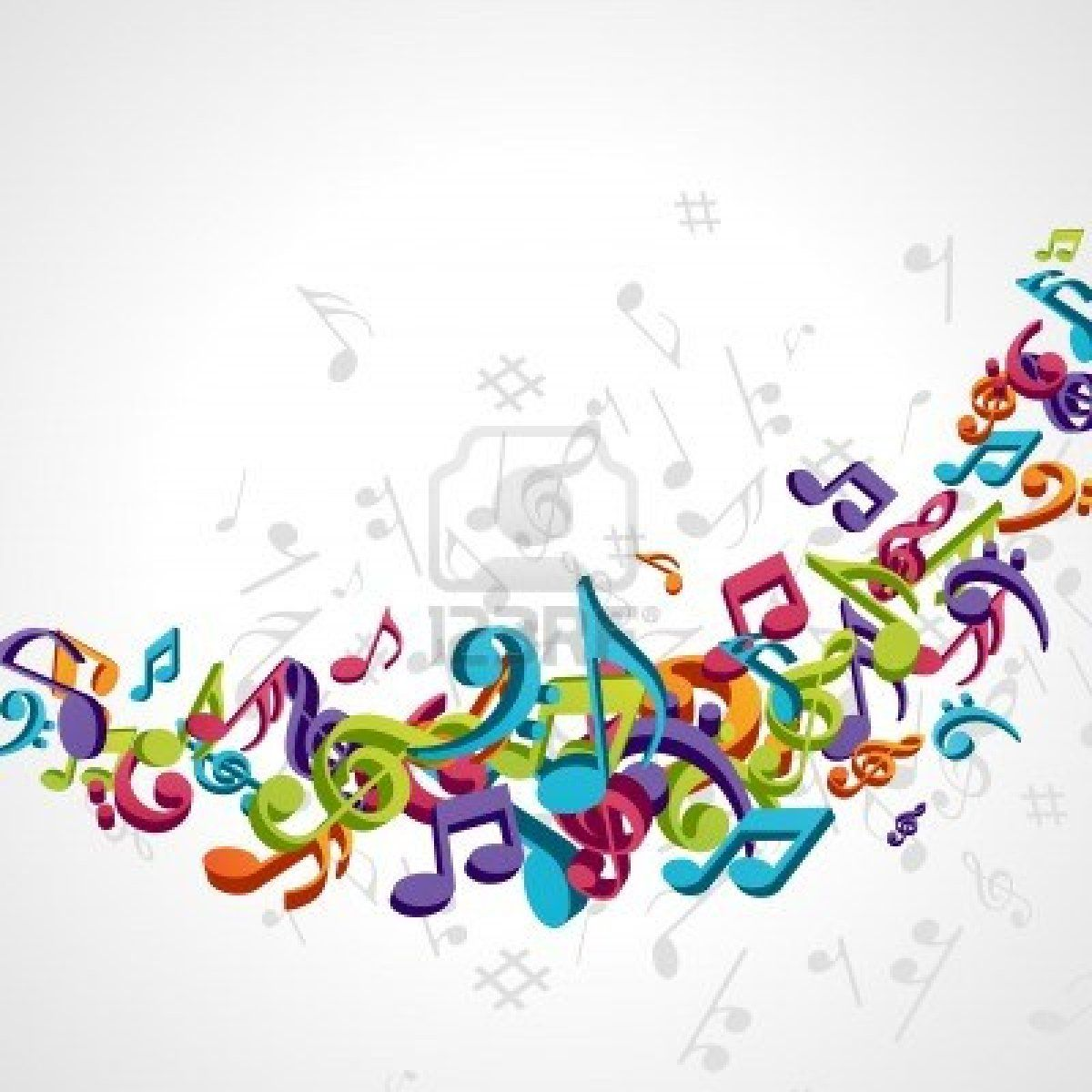 Musical notes staff background on white vector by tassel78 image - Colorful Music Background With Fly Notes Stock Photo 10578357