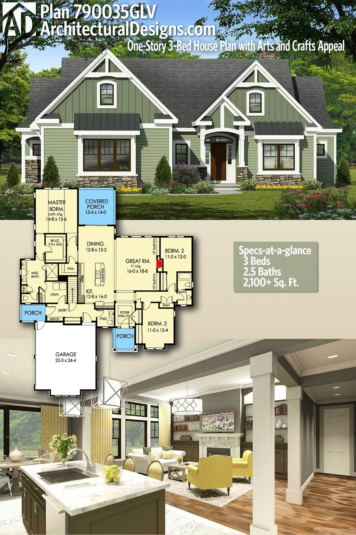 Exterior home design one story  Plan GLV OneStory Bed House Plan with Arts and Crafts Feel
