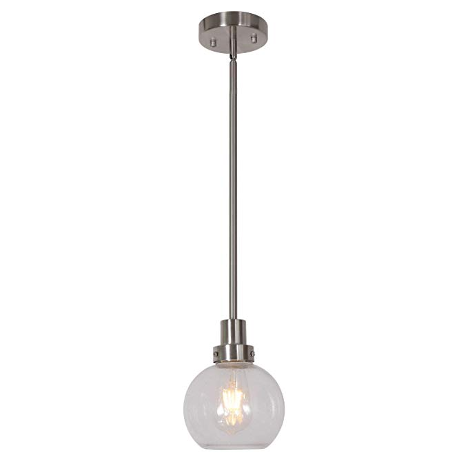 Eluze Modern One Light Mini Pendant Light Seeded Glass Brushed