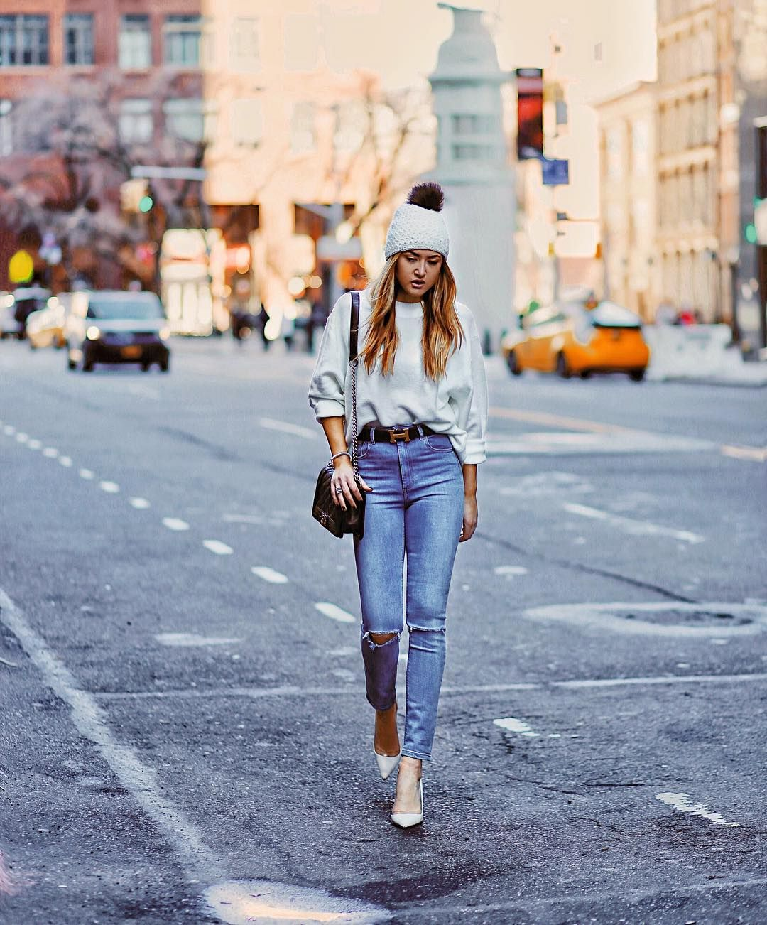 941a2c2a814 Fashion is my Forte  a simple NYC winter street style look wearing ripped  jeans
