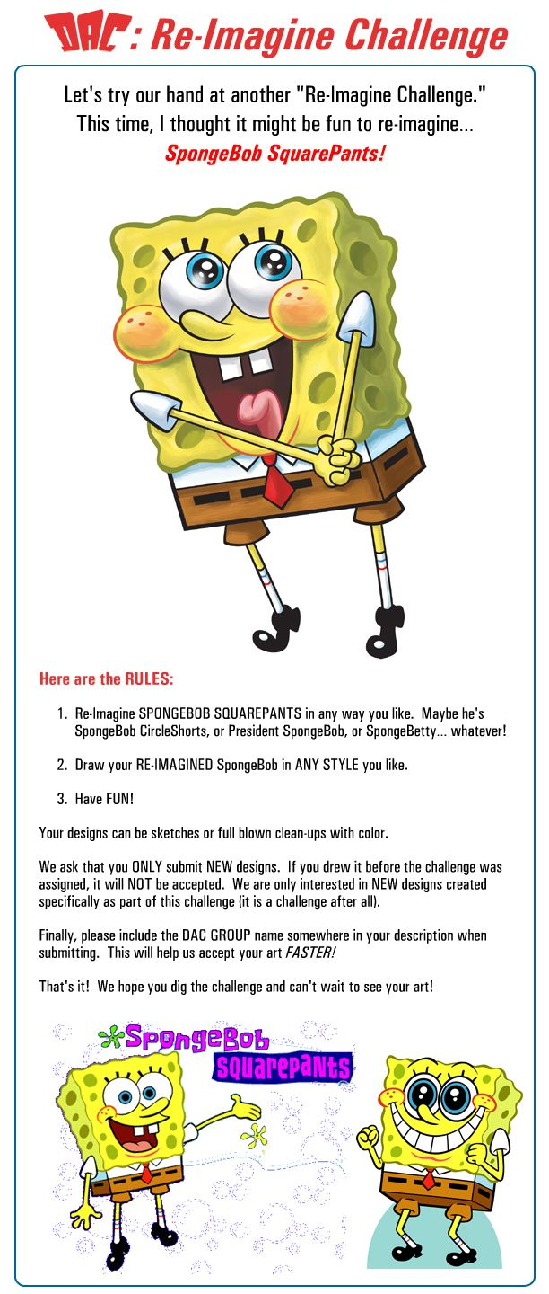 Spongebob Challenge : spongebob, challenge, Re-Imagine, Challenge, Rules:, SpongeBob!, 2Ajoe, Spongebob,, Imagine,, Challenges