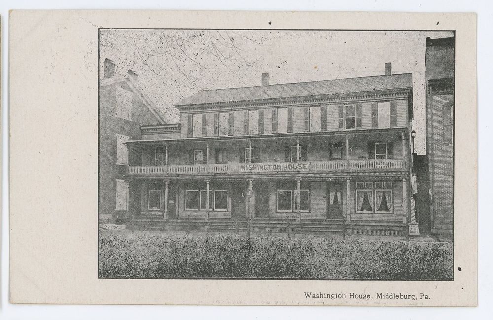 Washington House Hotel Middleburg Pa Vintage Pennsylvania Snyder County Postcard