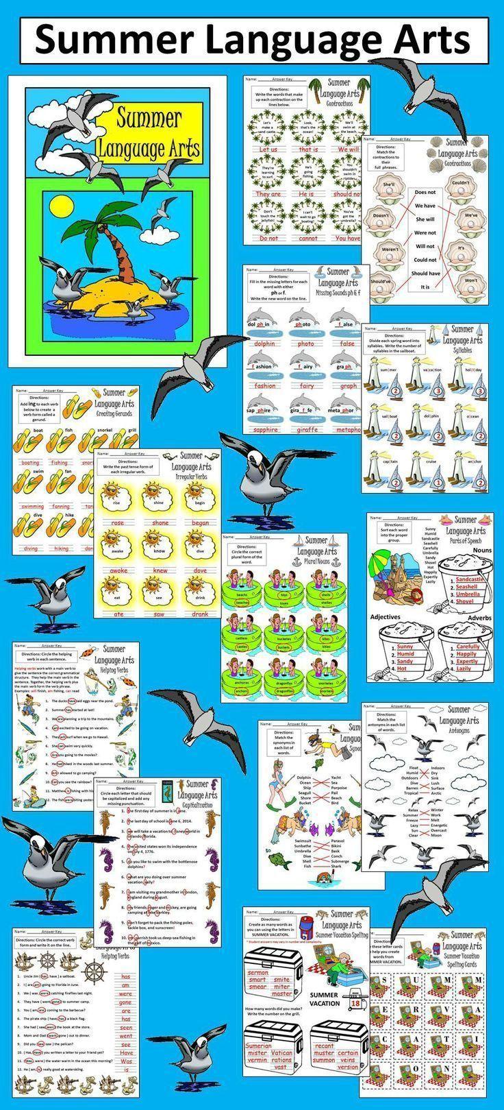 Summer Worksheet Activities: Summer Language Arts Activity Packet ...
