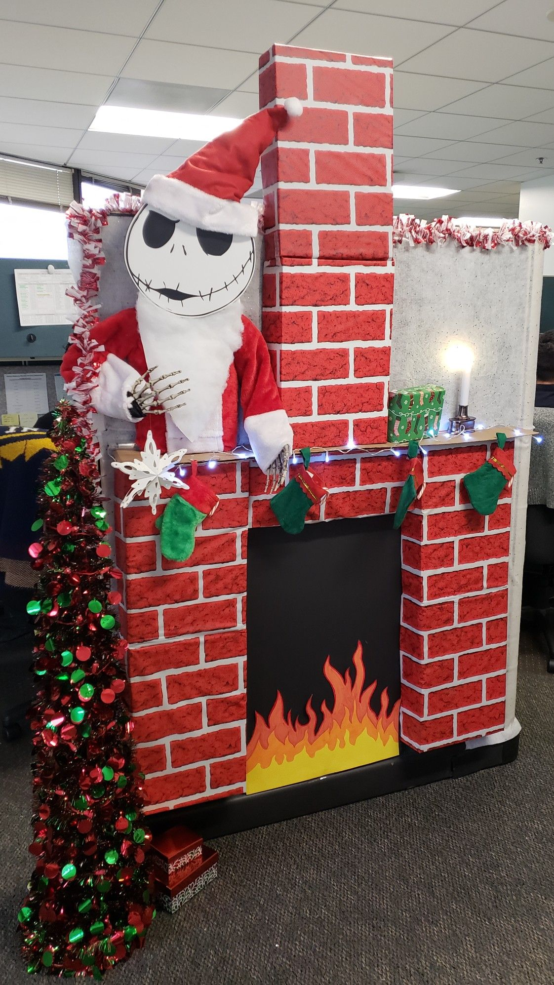 Fireplace We Made From Cardboard For Our Cubicle Decorating