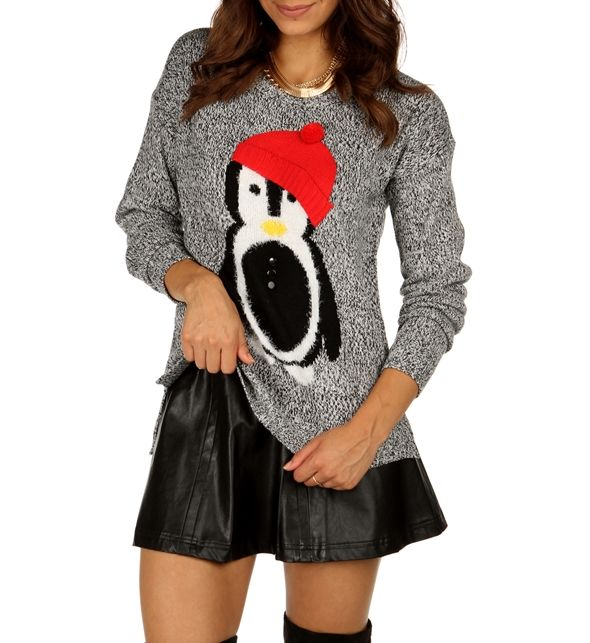 Charcoal Marled Penguin Sweater