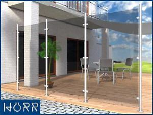 Edelstahl Windschutz Sichtschutz Terrasse Balkon F Glas Ebay