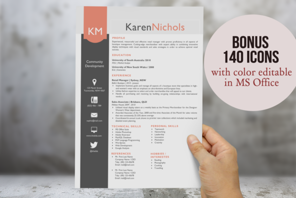 Beautiful Word Resume Template Pack By Inkpower On Creative Market