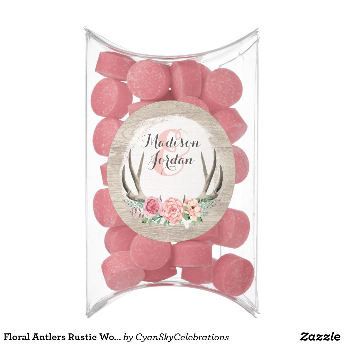 Floral Antlers Rustic Wood Wedding Personalized Chewing Gum ...