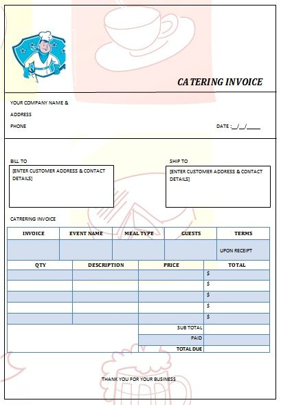 Catering Invoice Template Excel Catering Invoice Sample 10 28