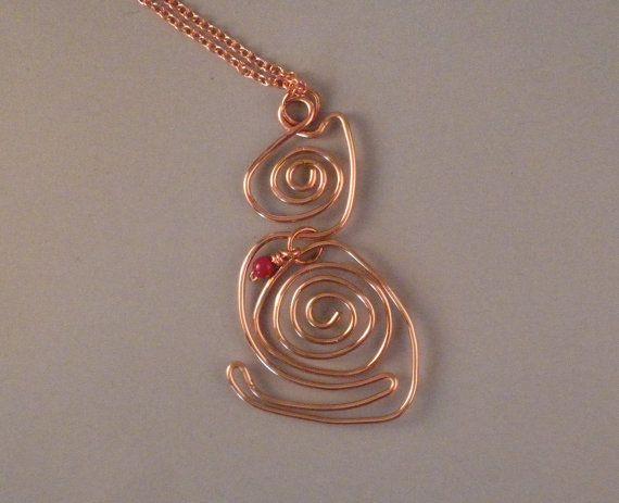 Cat Pendant in Copper Spirals by SleepyCatJewelry on Etsy, $35.00
