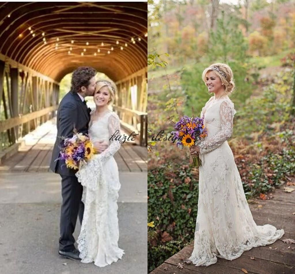 Kelly Clarkson Country Wedding Dresses 2018 Modest Spring Long Sleeves Beaded Lace Boho Plus Size Bridal Gowns Mermaid Dress