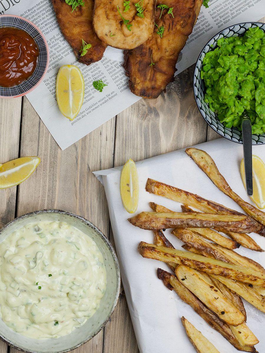 Vegane Fish Chips Mit Erbsenpuree Rezept Fisch Und Chips Rezepte Kochrezepte