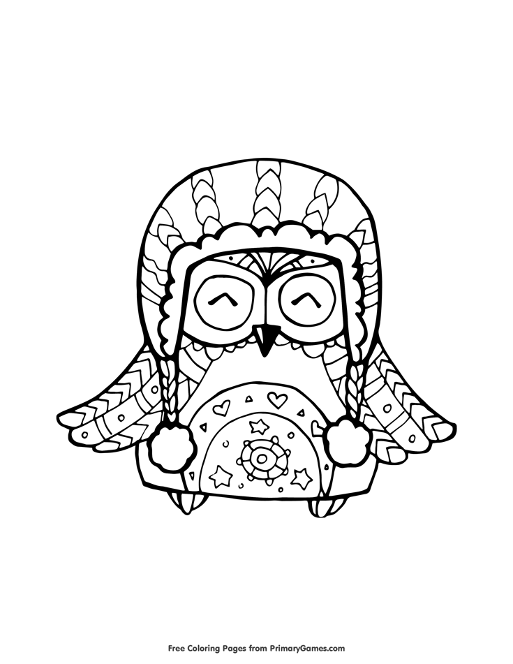 Owl in Winter Hat Coloring Page • FREE Printable eBook