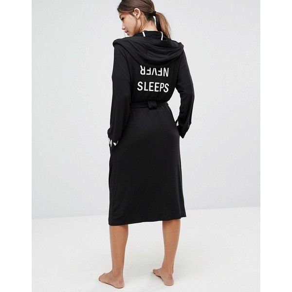 DKNY Never Sleeps Black Hooded Robe (151 CAD) ❤ liked on Polyvore ...