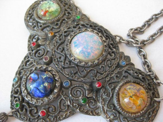 Chunky Colorful Filigree Necklace by vintagejewelryalcove on Etsy, $32.50