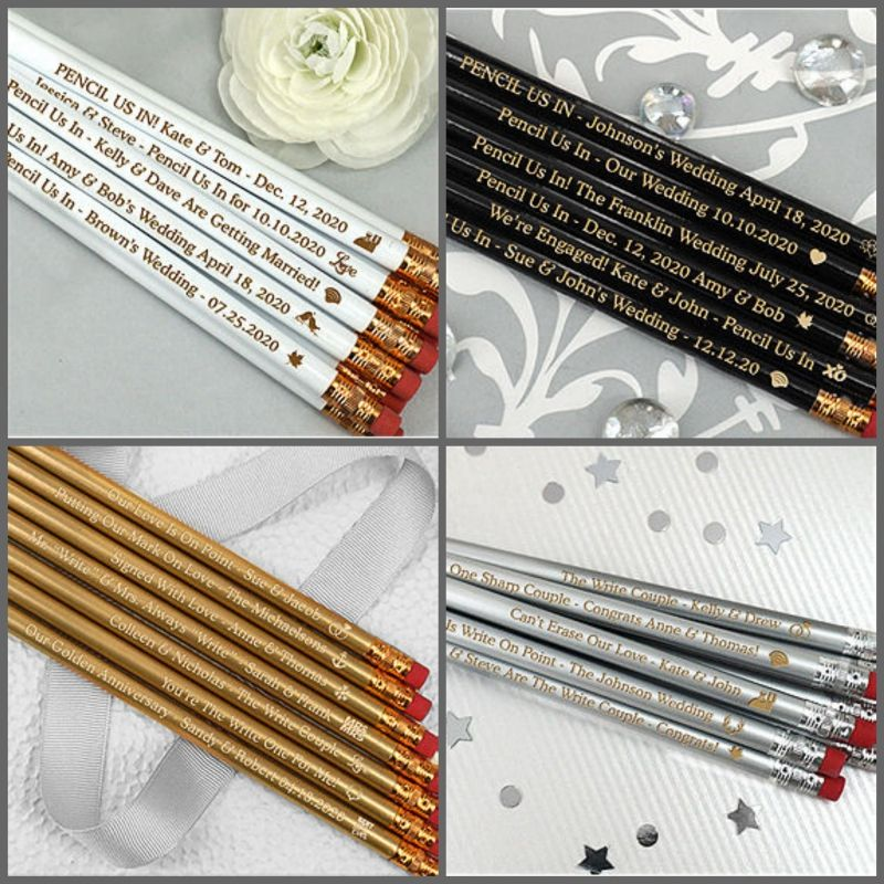 Personalized Wedding Pencils Set Of
