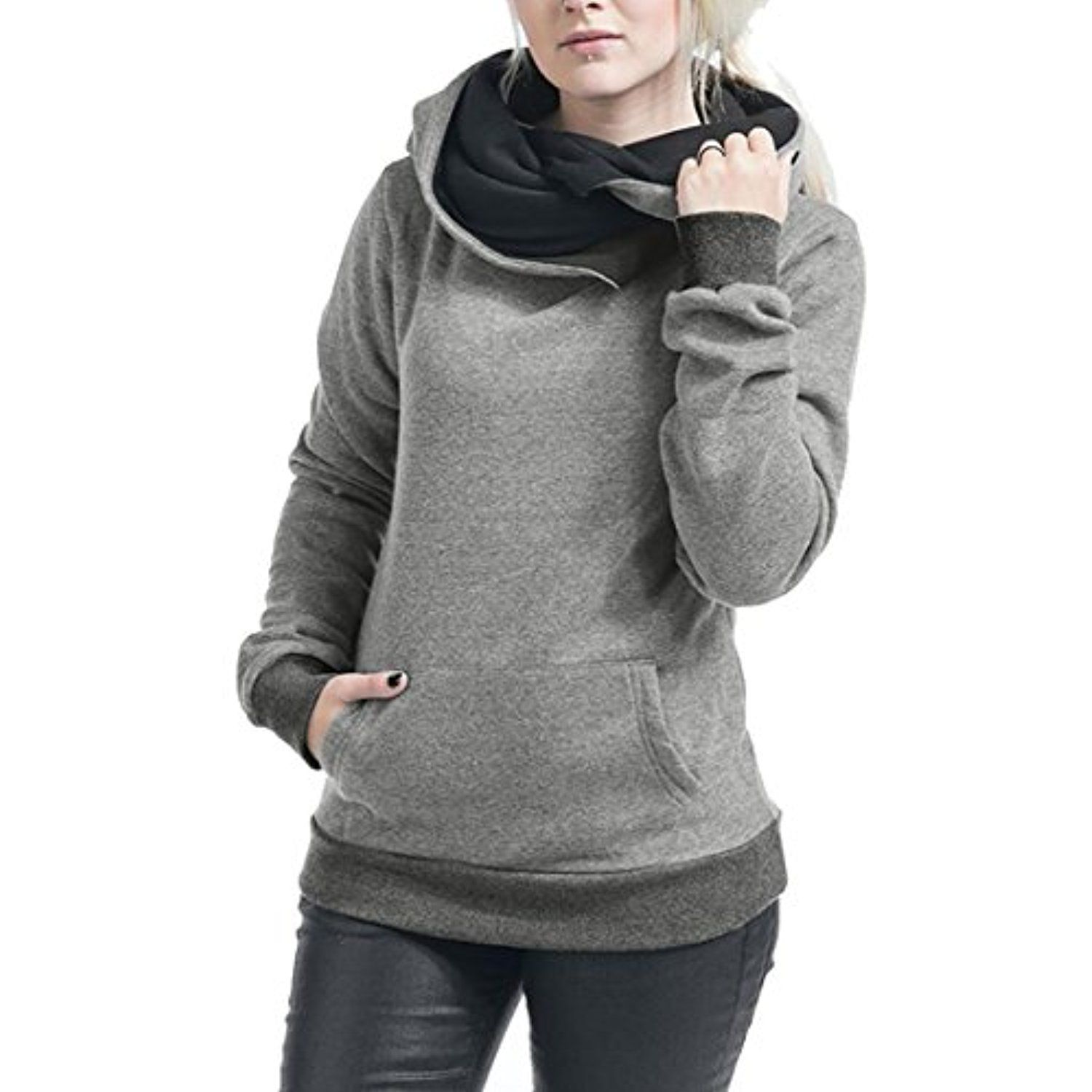 7c5bb53eeb0d Women s Funnel Neck Long Sleeve Pocket Hooded Sweatshirt Pullover     You  can get additional details at the image link. (This is an affiliate link)    ...