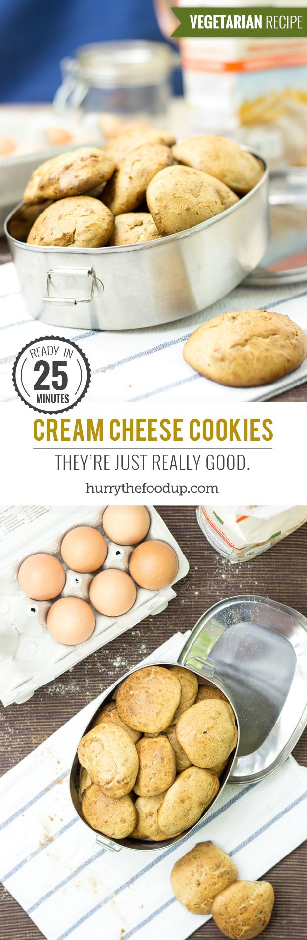 Cream Cheese Cookies. They're just really good. #vegetarian #cookie | hurrythefoodup.com