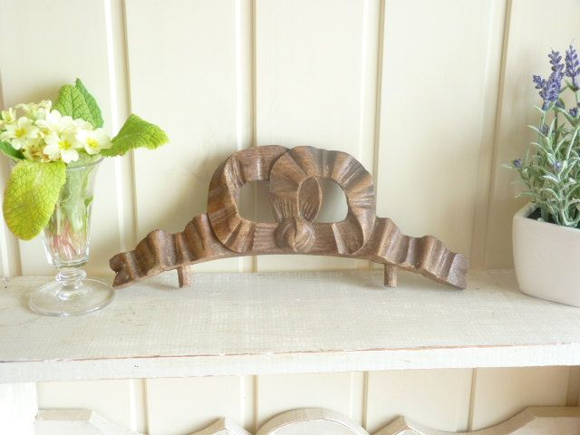 Carved Oak Bow Furniture Embellishment Decoration Ribbon Chip Wood Vintage French Decor Antique Carving By