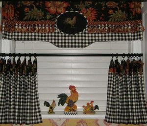 Custom French Country Valance Roosters Jacobean Black Check Tassel French Country Decorating French Country Kitchens Country Decor