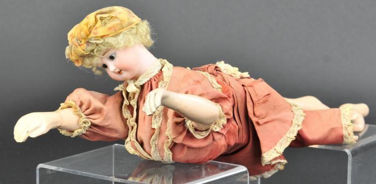 """Antique pair bisque porcelain arms China Parian Biedermeier Doll 1/"""" vtg tie in"""