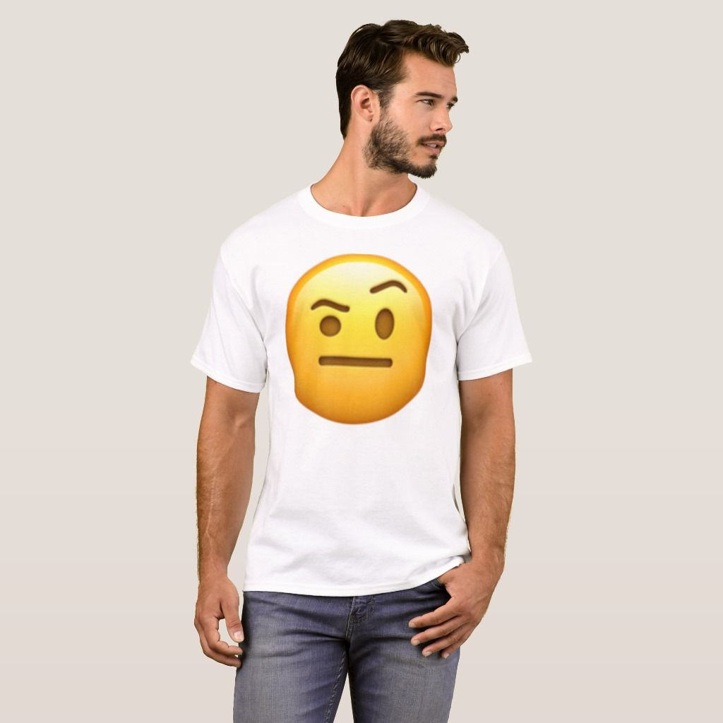Face With One Eyebrow Raised Emoji T Shirt Zazzle Com In 2020 One Eyebrow Raised Face Emoji Faces