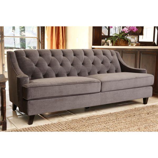 Abbyson Living Claridge Dark Grey Velvet Fabric Tufted Sofa Ping Great Deals On Sofas Loveseats