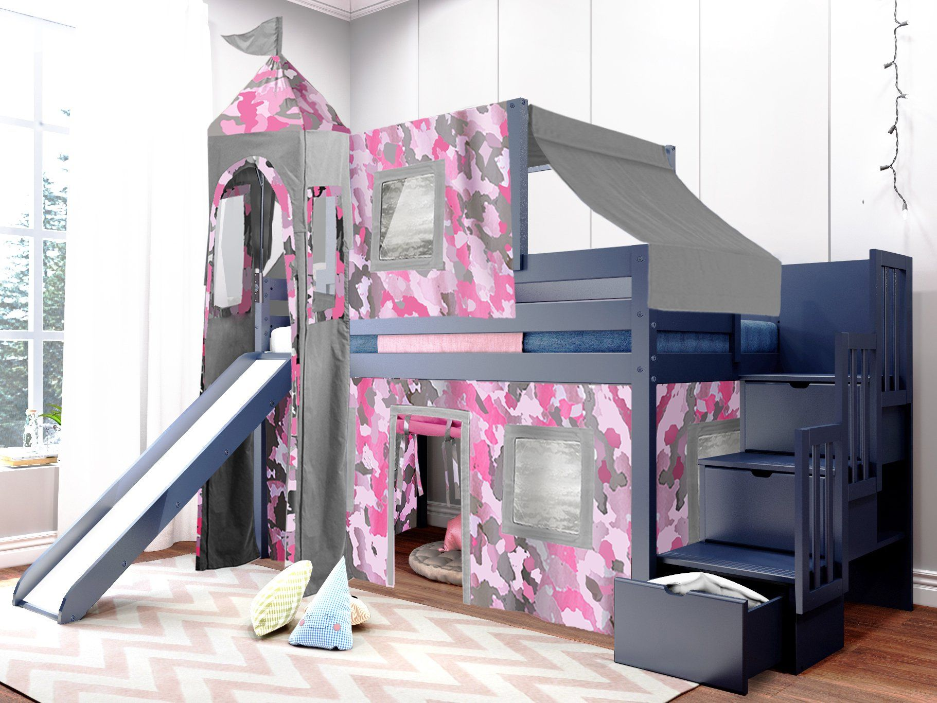 pink bunk bed on Pin On Room Ideas