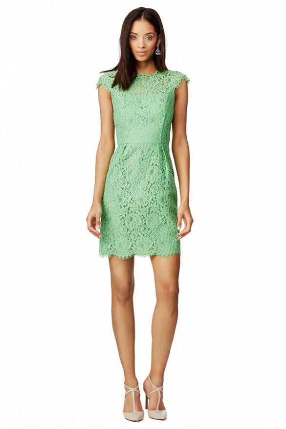 Shoshanna Apple Olivia Dress // Green lace dress