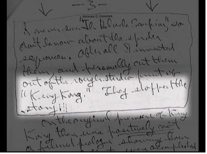 In this handwritten memo, Cooper addresses the issue of the Spider Pit Scene.
