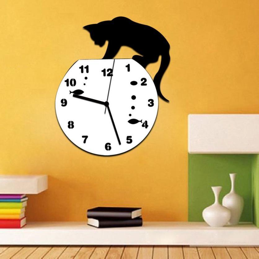 New Qualified Naughty Cat Acrylic Clock Wall Clock Modern Design ...