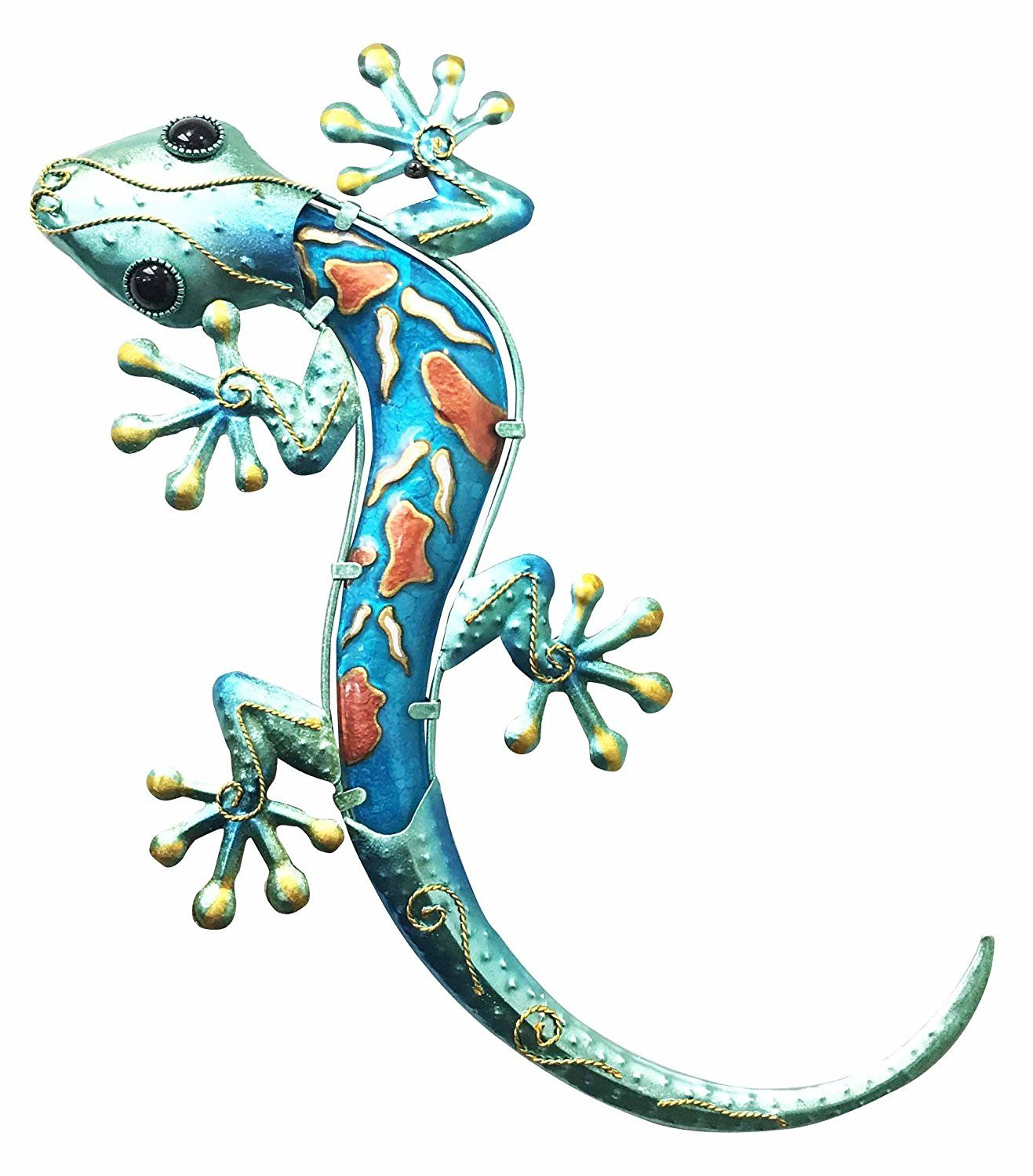 Crawling green lizard gecko copper metal with glass wall art plaque