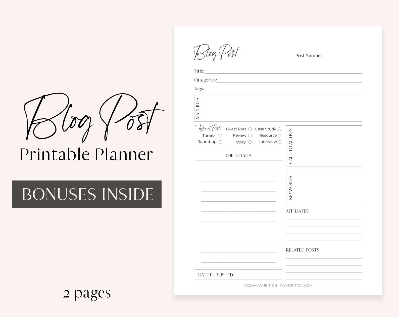 Printable Blog Post Planner Blogging Worksheet Content