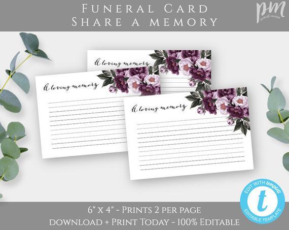 Lavender Floral Funeral Keepsake Template Purple Loving Memory