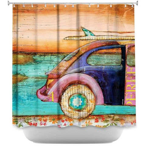 The Perfect Day By Danny Phillips Fabric Shower Curtain Volkswagen Showercurtainhq VW Curtains