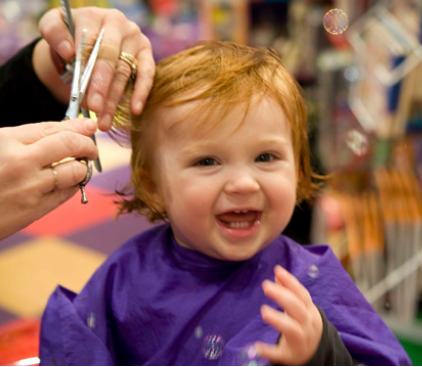 Baby S First Haircut At Our Salon Kids Hair Salon Kids Hairstyles Baby S First Haircut