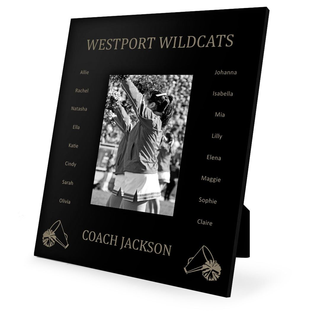 Personalized Cheerleading Coach Picture Frame Custom Team Roster Names Thanks Coach 4x6 Meta With Images Coach Picture Frame Custom Picture Frame Picture Frame Shelves