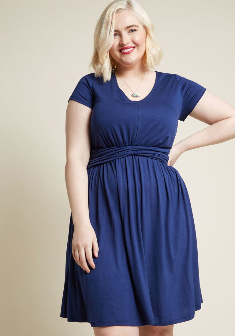 ada2b7b18ab A Pleasure Indeed Knit Dress in Navy in 3X - Short Sleeve A-line ...