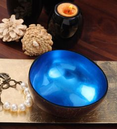 Asian Artisans Blue Bamboo and Lacquer Bowl