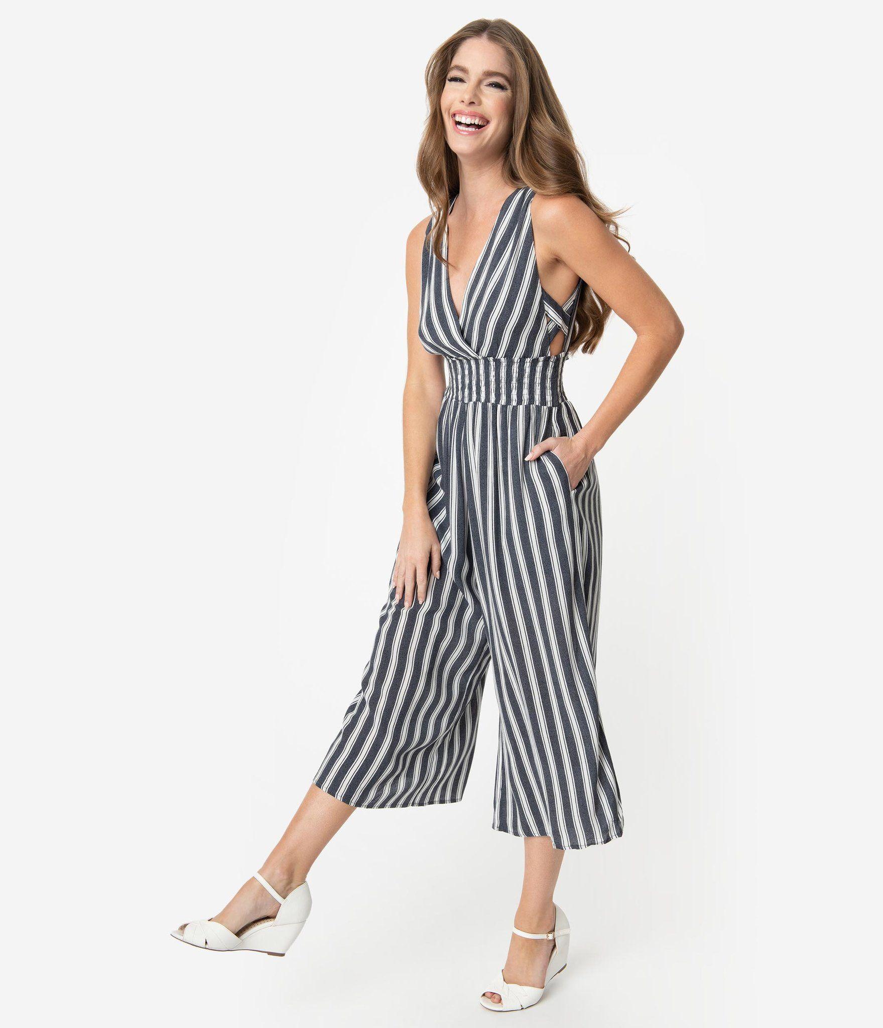 625fdef77ed4 Grey & White Stripe Woven Sleeveless Culotte Jumpsuit – Unique Vintage