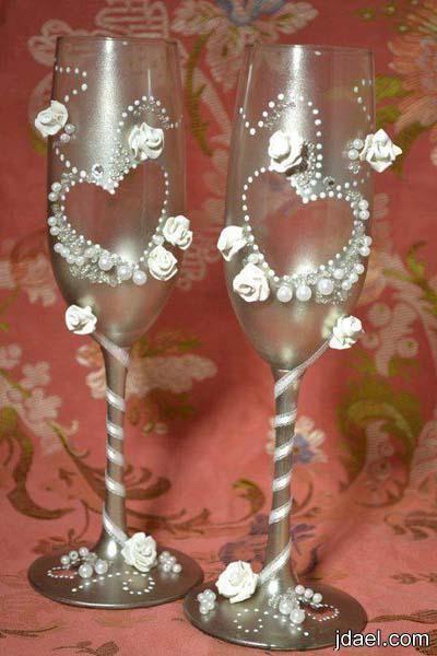 ابداع في تزيين كاسات العصير بالوان وعجينة السيراميك بالصور منتدى جدايل Wedding Glasses Champagne Flute Handmade