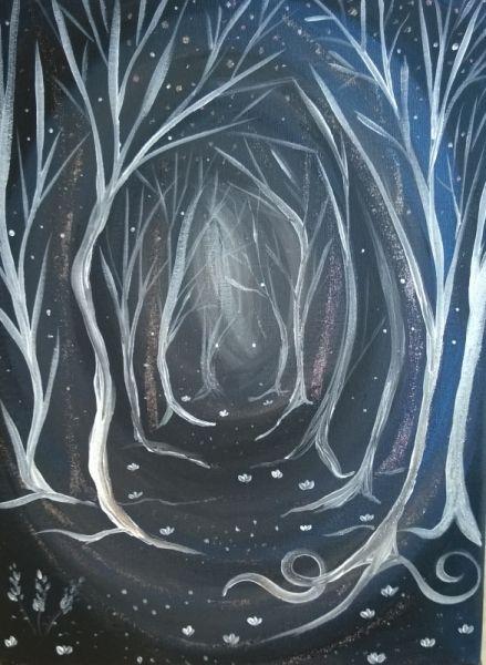 Tableau Peinture Sombre Inquietant Feerique Foret Paysages