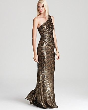 39016b257e394 David Meister One Shoulder Gown - Sequin Bloomingdale s