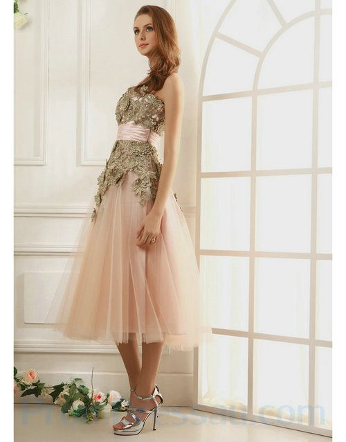 Light Pink Lace Embroidery Tea Length Prom Dresses With Sash ...
